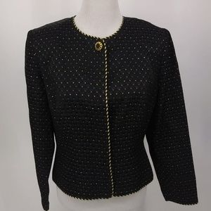 Maggy London Size 10 Blazer Black Gold Purple Red